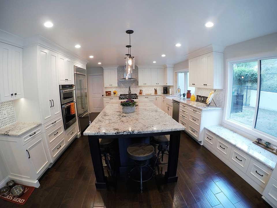 SANTA ANA U2013 DESIGN BUILD WHITE TRANSITIONAL HOME U0026 U SHAPED KITCHEN REMODEL  WITH APLUS CUSTOM CABINETS