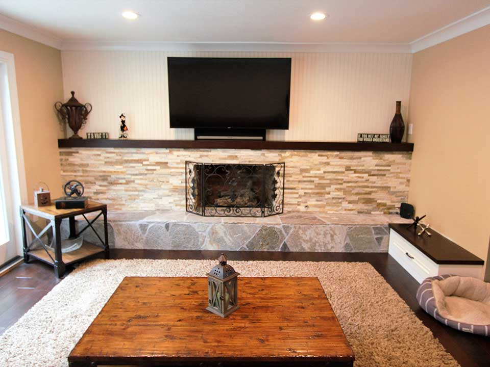 Living room fireplace remodel